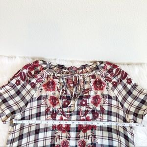 Johnny Was Tops - Johnny Was Workshop Embroidered Plaid Floral Tunic
